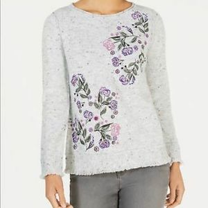 STYLE & Co floral sweater with fringe hem & cuffs